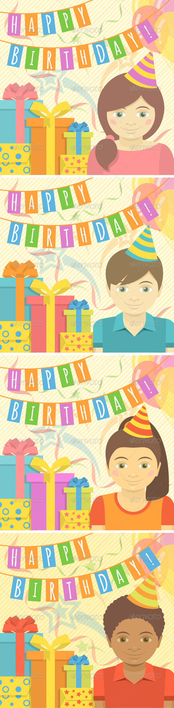 GraphicRiver Happy Birthday Cards for Kids 7611851