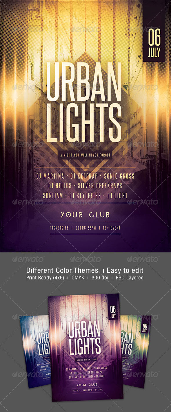 Urban Lights Flyer - Clubs & Parties Events