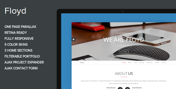 Floyd - One Page Parallax Theme - Creative Site Templates