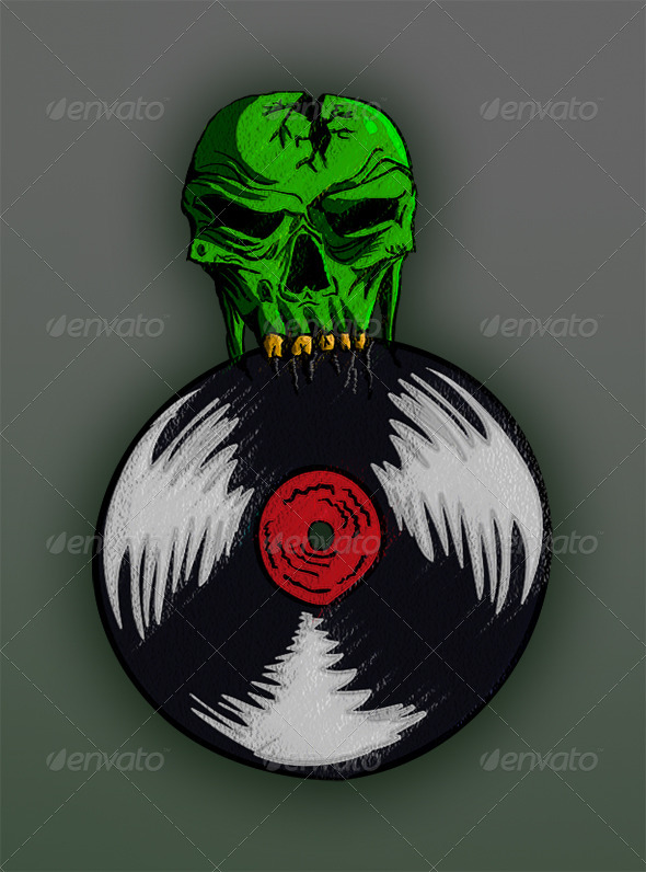 GraphicRiver DJ Skull and Plate 7612626
