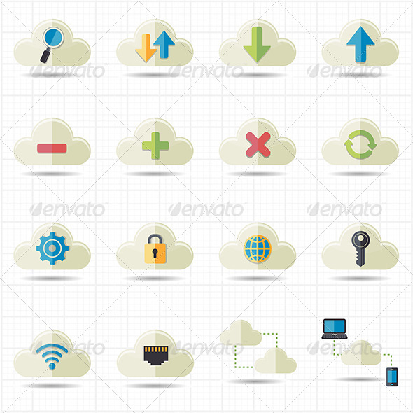 GraphicRiver Cloud Computing Network Icons Vector 7612706