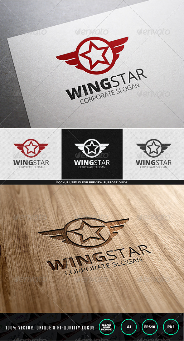 Wing Star Logo Template - Objects Logo Templates