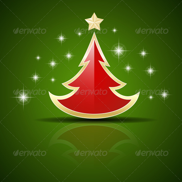 GraphicRiver Red Christmas Tree on Green Background 7613156