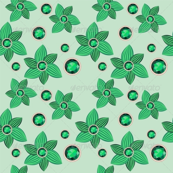 GraphicRiver Green Flower with Emerald 7613924