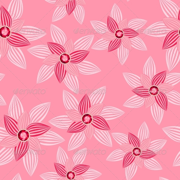 GraphicRiver Pink Flower with Gemstone Seamless Pattern 7613944