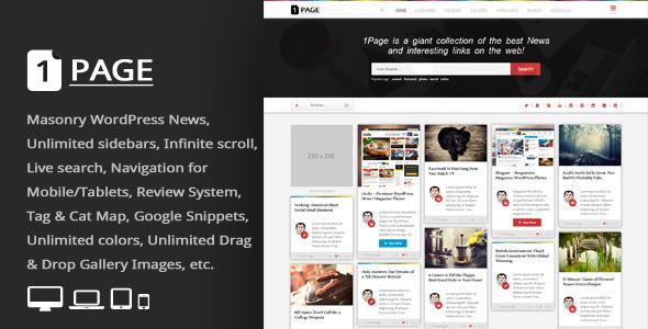 1Page = Masonry WordPress News / interesting links - News / Editorial Blog / Magazine