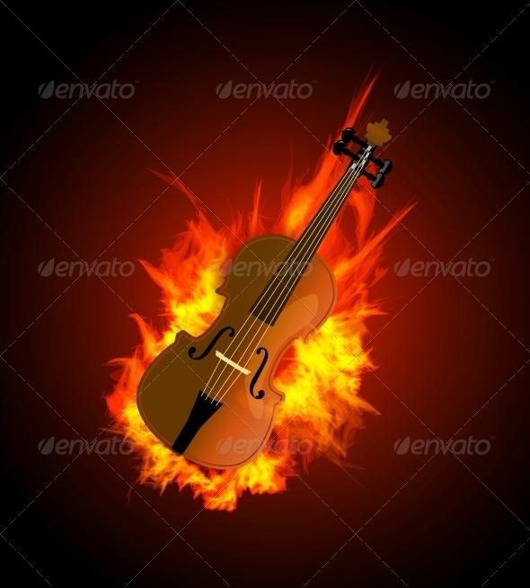 GraphicRiver Violin in Fire 7614001