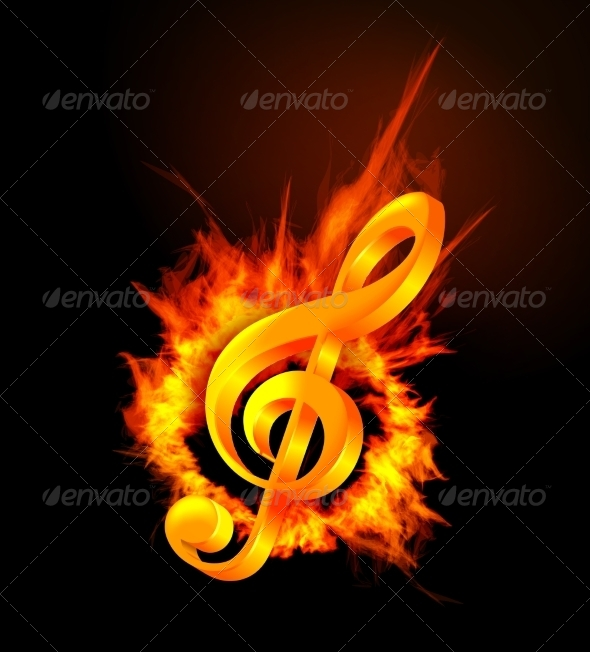 GraphicRiver Fire Violin Key Sign 7614004