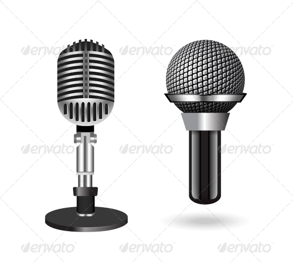 GraphicRiver Vintage Silver Microphone 7614017