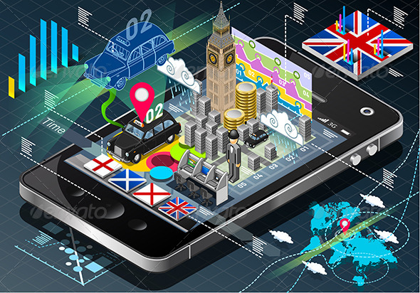 GraphicRiver Isometric Infographic of Great Britain on Mobile 7614655