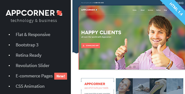 Appcorner - Business & Technology HTML Template - Technology Site Templates
