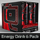 Energy Drink 6 Pack Tray and Cans
