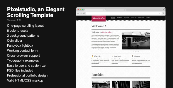 Pixelstudio - An elegant scrolling one-page layout
