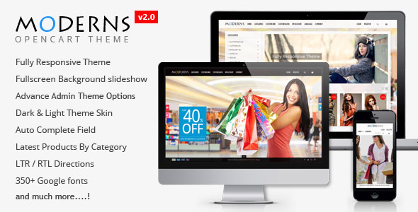 Moderns - Fullscreen Background OpenCart Theme