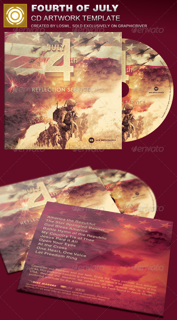 GraphicRiver Fourth of July CD Artwork Template 7615010