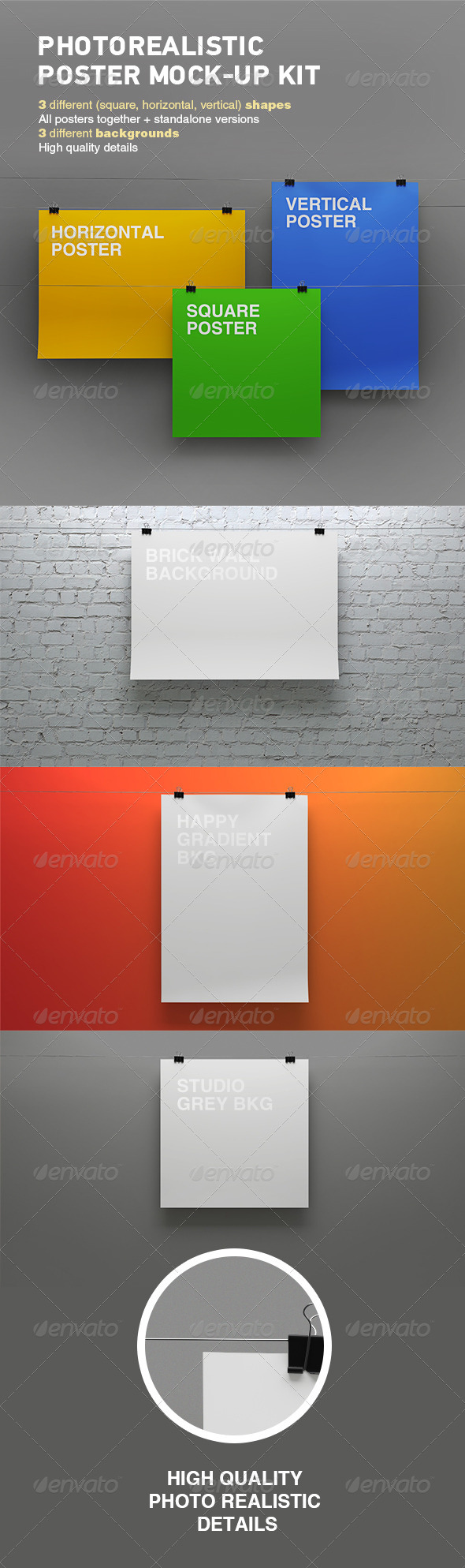 GraphicRiver Photorealistic Poster Mock-up Kit 7615069