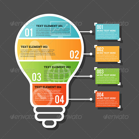 GraphicRiver Four Part Horizontal Bulb Infographic 7615070
