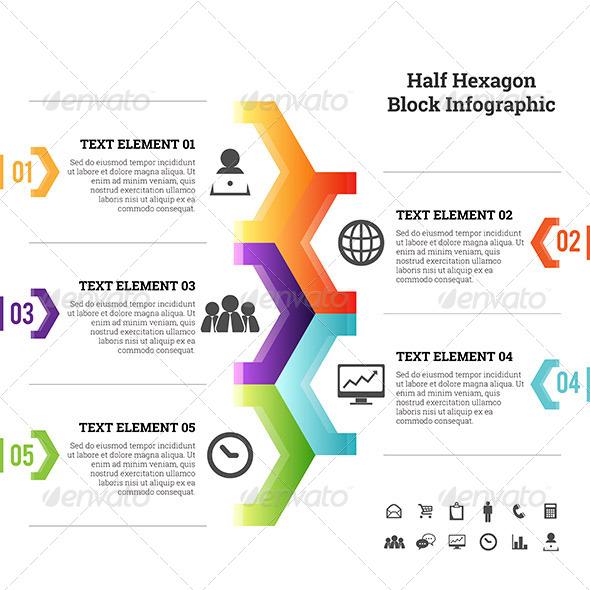 GraphicRiver Half Hexagon Block Infographic Element 7615073