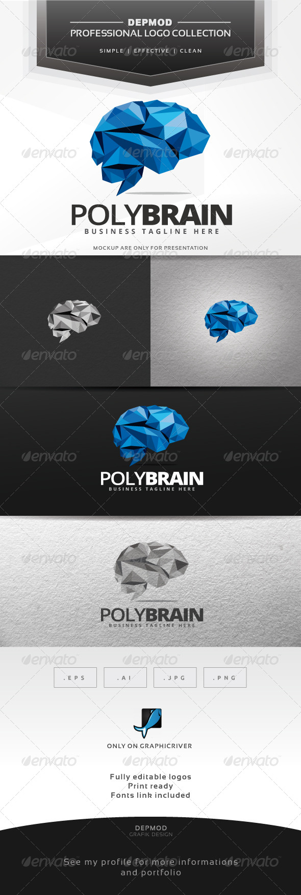 GraphicRiver Poly Brain Logo 7615226