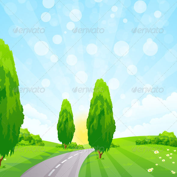 GraphicRiver Green Landscape with Trees 7616622