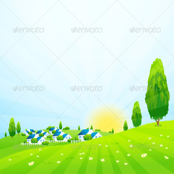 GraphicRiver Green Landscape with Village 7616626