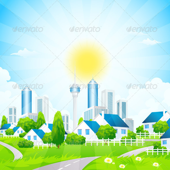 GraphicRiver Green Landscape with City and Village 7616628