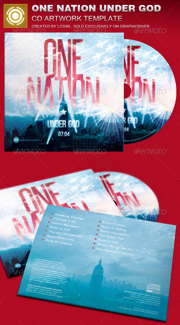 GraphicRiver One Nation Under God CD Artwork Template 7617062