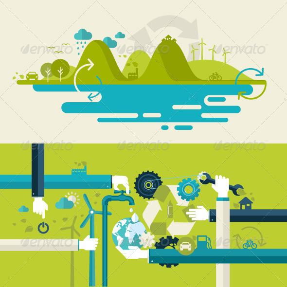 GraphicRiver Flat Design Concepts for Renewable Energy 7617401