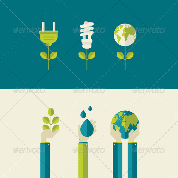 GraphicRiver Flat Design Concepts for Ecology 7617425