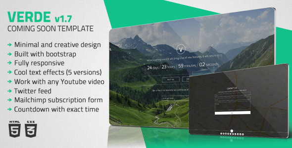 Verde - Minimal Coming Soon Template - Under Construction Specialty Pages