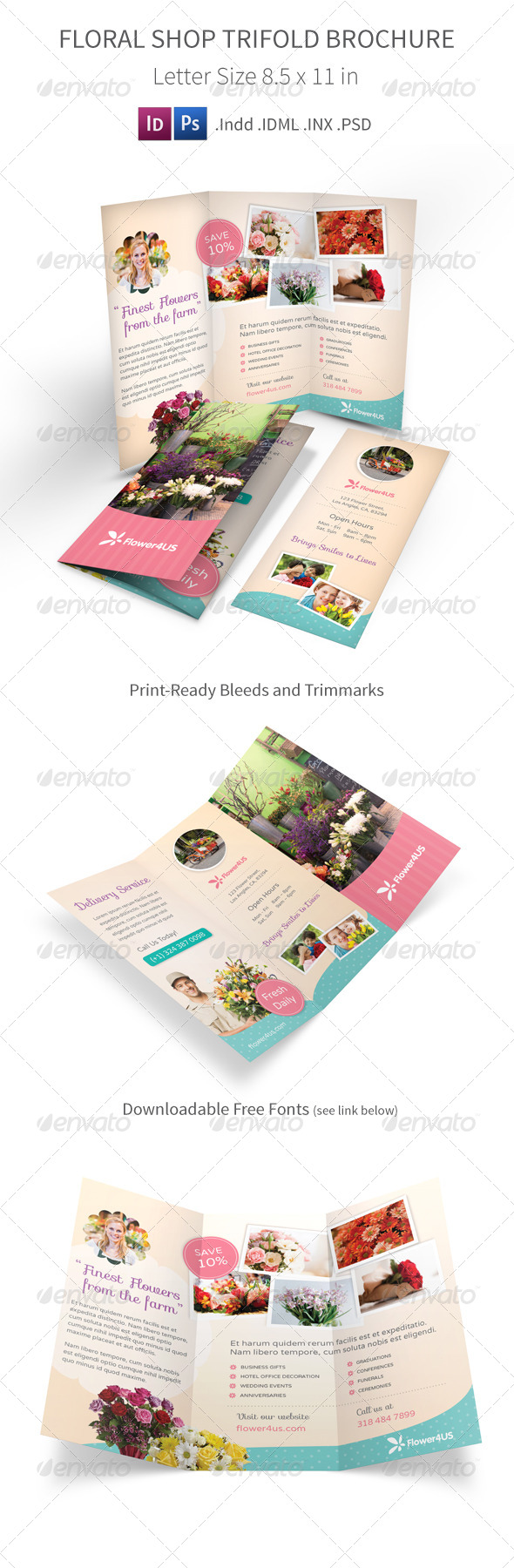 GraphicRiver Flower Shop Trifold Brochure 7618016