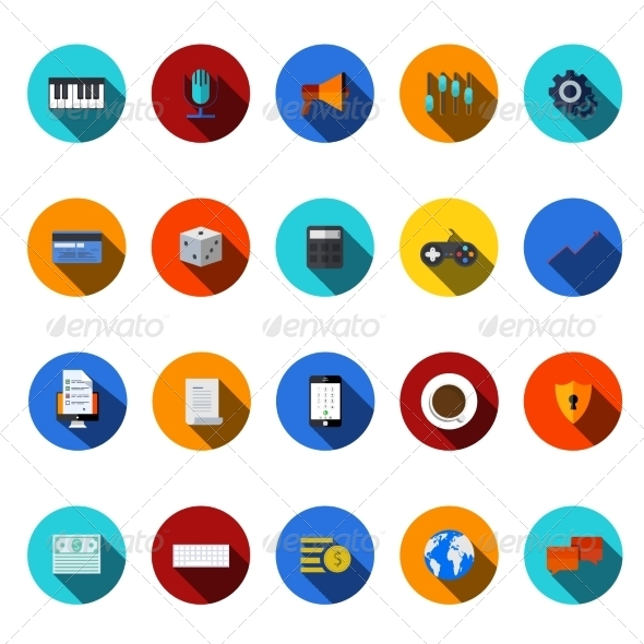 GraphicRiver Flat Modern Icons Set 7618028