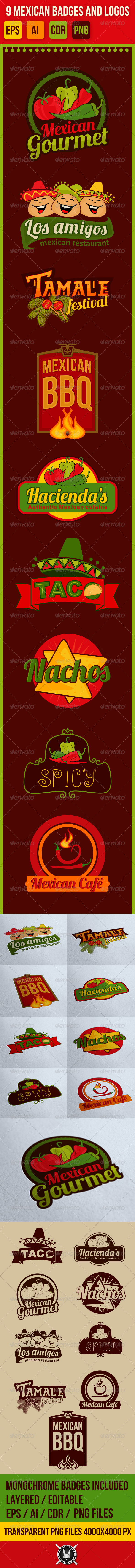 GraphicRiver 9 Mexican Vector Badges Emblems and Logos 7550319