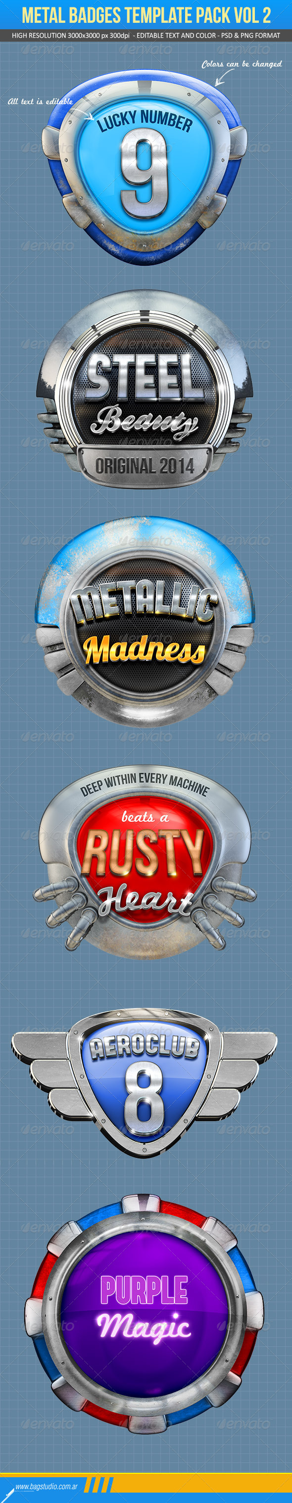 GraphicRiver Metal Badges Template Pack Vol 2 7618061