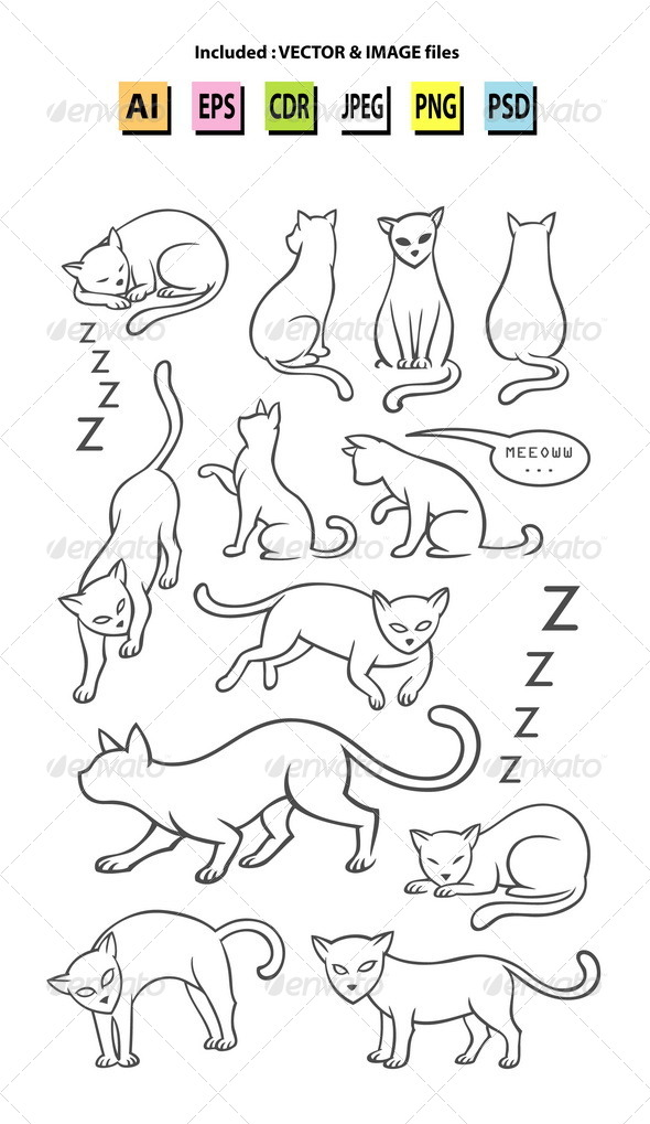 GraphicRiver Cat Sketches 7618282
