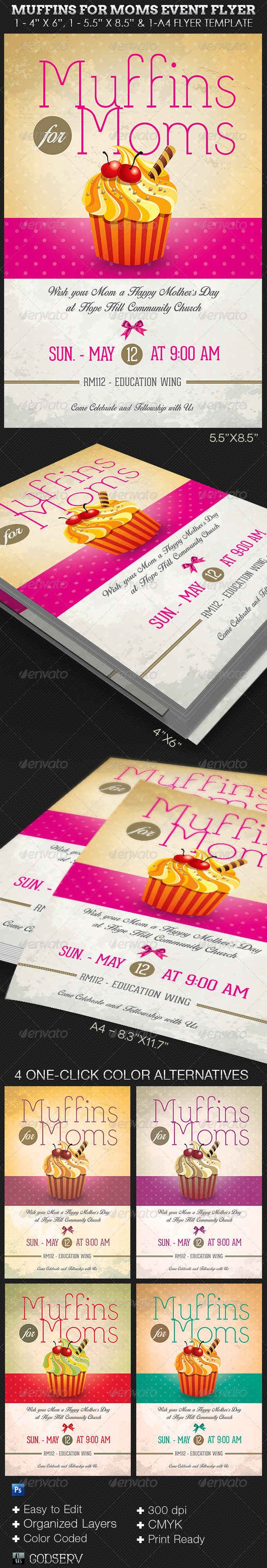 Muffins for Moms Event Flyer Template - Church Flyers