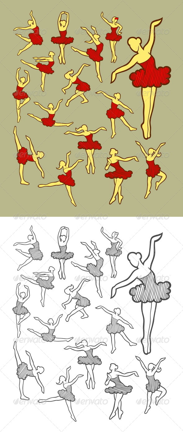 Dancer Icons Sketch - Sports/Activity Conceptual