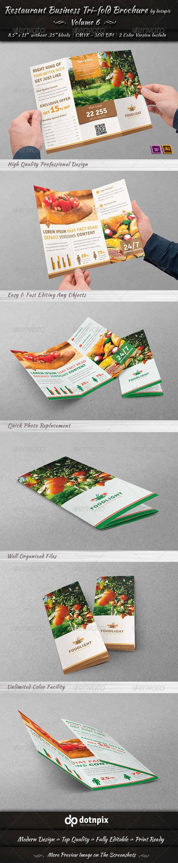 GraphicRiver Restaurant Business Tri-Fold Brochure Volume 6 7619724