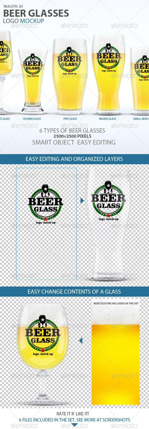 GraphicRiver Beer Glasses Logo Mockup 7620652