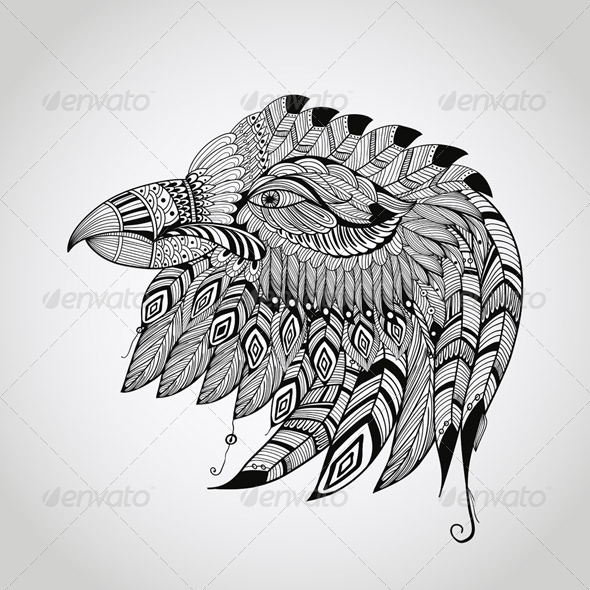 GraphicRiver Tattoo Eagle Head 7620657