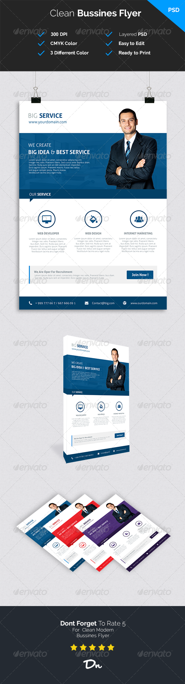 GraphicRiver Clean and Modern Bussines Flyer 7604254
