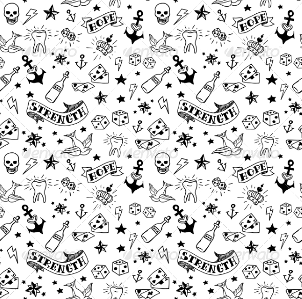 GraphicRiver Old School Tattoos Pattern 7621306