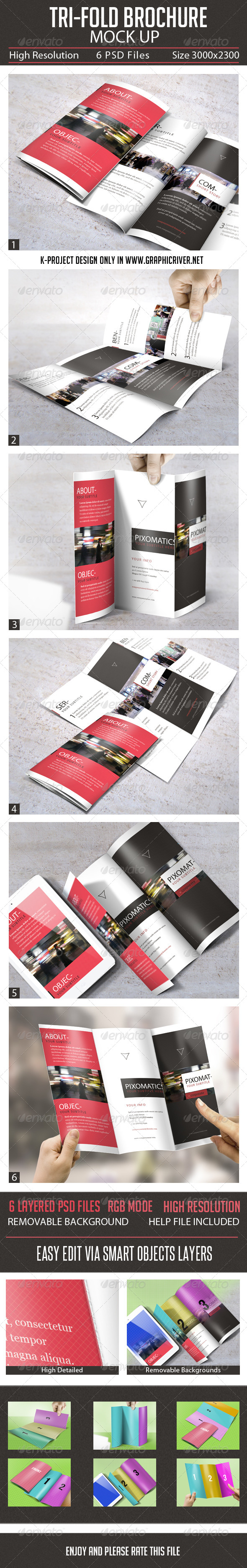 GraphicRiver Tri-Fold Brochure Mock Up 7621378