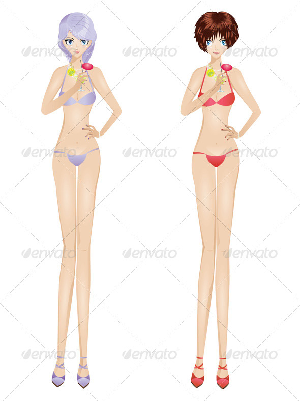 GraphicRiver Bikini Girls with Martinis 7621571