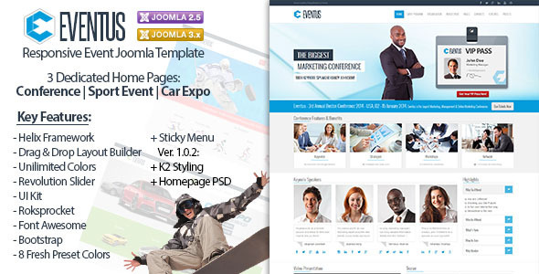 Eventus - Responsive Event Joomla Template - Events Entertainment