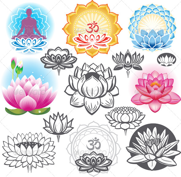 GraphicRiver Set of Lotuses and Esoteric Symbols 7621802