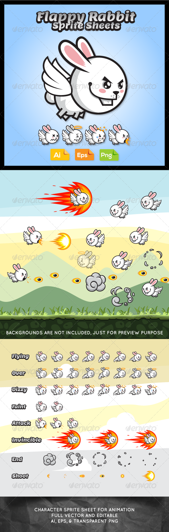 GraphicRiver Game Character Flappy Rabbit 7621855