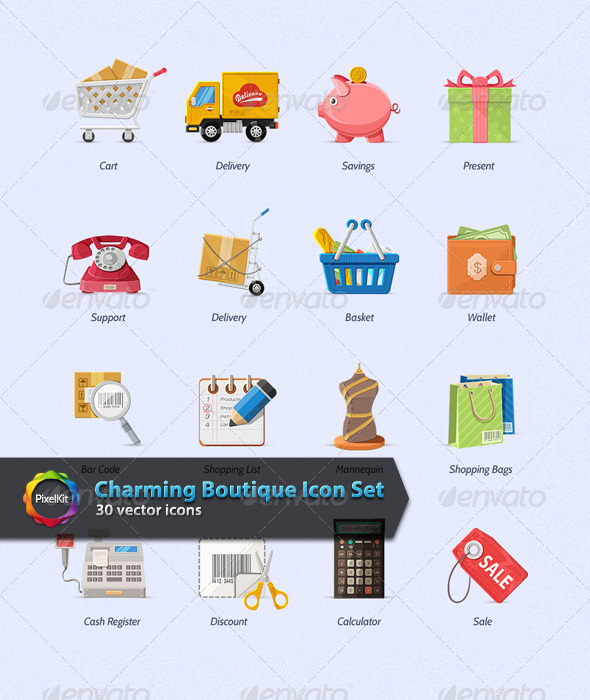 GraphicRiver Charming Boutique Icon Set 7622252
