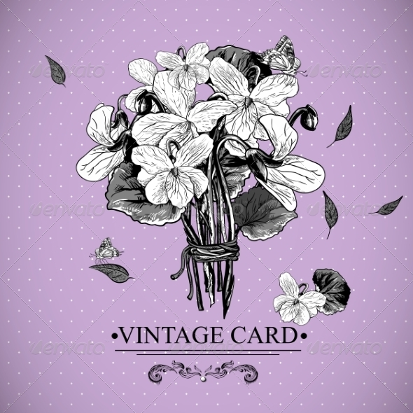 GraphicRiver Vintage Monochrome Floral Card with Violets 7622617