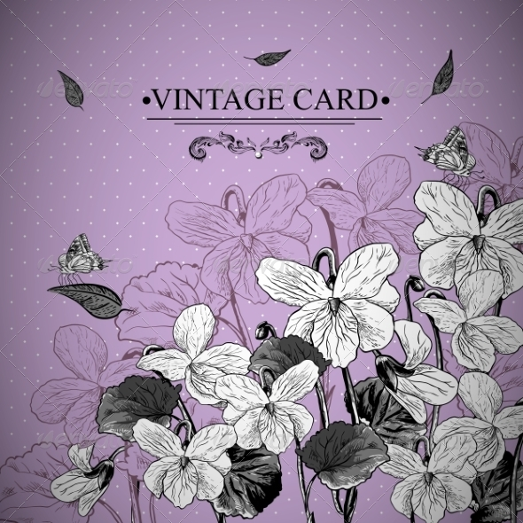GraphicRiver Vintage Monochrome Floral Card with Violets 7622621